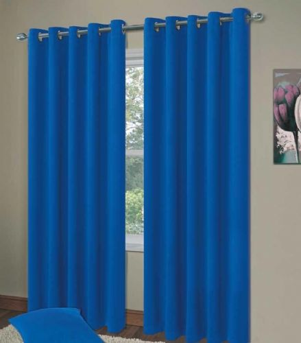 PLAIN BLUE COLOUR THERMAL BLACKOUT BEDROOM LIVINGROOM READYMADE CURTAINS RINGTOP EYELETS